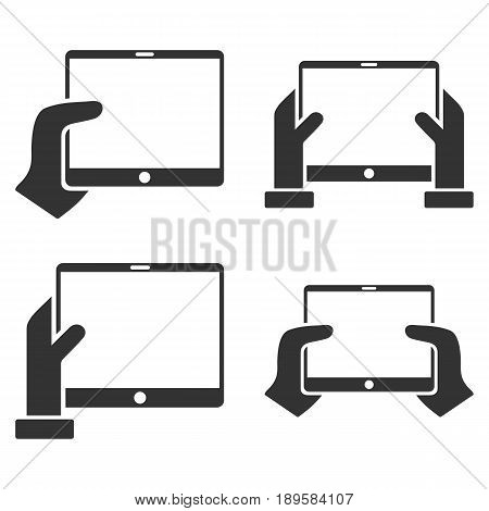 Hold Mobile Tab With Hands vector icon set. Collection style is gray flat symbols on a white background.