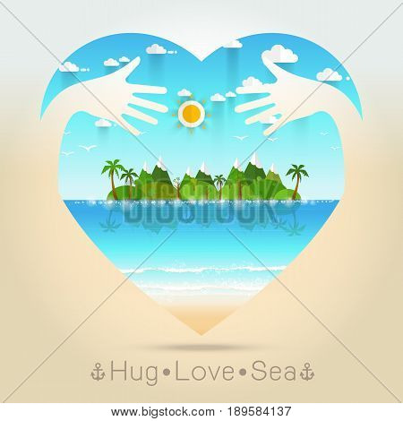 Beautiful seascape Summer in heart with hug hand concept Vector illustration