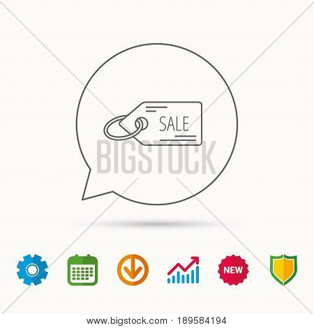 Sale shopping tag icon. Discount label sign. Calendar, Graph chart and Cogwheel signs. Download and Shield web icons. Vector