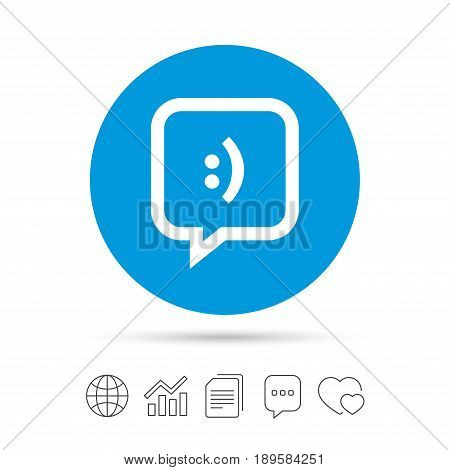Chat sign icon. Speech bubble with smile symbol. Communication chat bubbles. Copy files, chat speech bubble and chart web icons. Vector