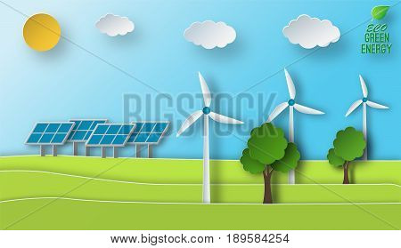 Paper art of a solar and wind green energy sources concept. Environment issues. Flat vector illustration.
