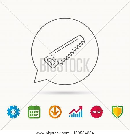 Saw icon. Carpentry equipment sign. Hacksaw symbol. Calendar, Graph chart and Cogwheel signs. Download and Shield web icons. Vector