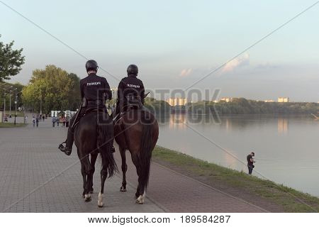 Mounted police in the Park Kolomenskoye. Moscow, Russia.