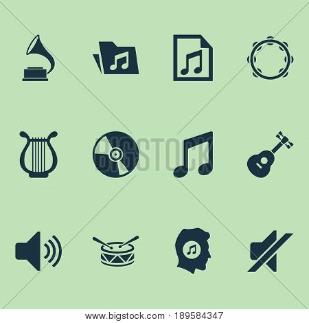 Music Icons Set. Collection Of Silence, Lyre, Phonograph And Other Elements. Also Includes Symbols Such As Gramophone, Note, Silent.