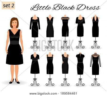 Fashion woman character in little black dress. Set of evening dresses for cocktail on a mannequins. Flat vector illustration.