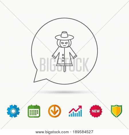 Scarecrow icon. Human silhouette with pumpkin head sign symbol. Calendar, Graph chart and Cogwheel signs. Download and Shield web icons. Vector