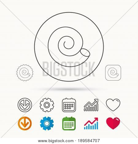 Sea shell icon. Spiral seashell sign. Mollusk shell symbol. Calendar, Graph chart and Cogwheel signs. Download and Heart love linear web icons. Vector