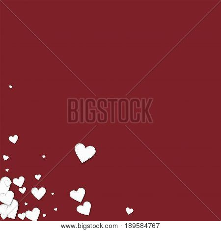 Beautiful White Paper Hearts. Messy Bottom Left Corner On Wine Red Background. Vector Illustration.