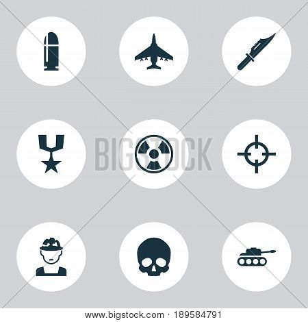 Army Icons Set. Collection Of Aircraft, Order, Target And Other Elements. Also Includes Symbols Such As Mechanism, Slug, Danger.