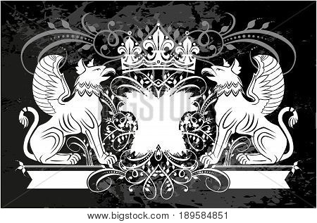 Black and white floral frame with crown and Griffin