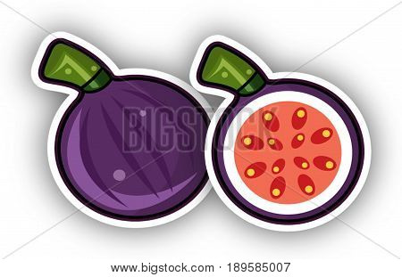 Fig fruits. Two figs. Illustration. Cartoon. Half-cut fig