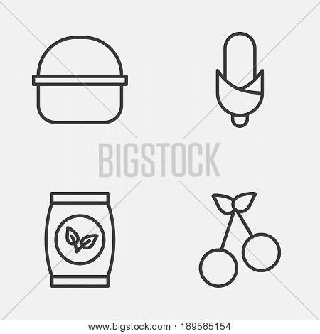 Farm Icons Set. Collection Of Package, Maize, Grains And Other Elements. Also Includes Symbols Such As Seed, Bundle, Basket.