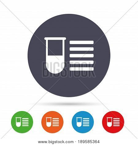 Medical test tube sign icon. Test list. Laboratory equipment symbol. Round colourful buttons with flat icons. Vector