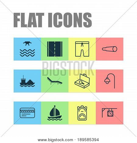 Travel Icons Set. Collection Of Sail Ship, Suitcase Checking, Magnifying Glasses And Other Elements. Also Includes Symbols Such As Plastic, Rucksack, Ship.