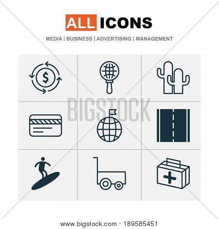 Travel Icons Set. Collection Of Boardsports, Bank Card, Freight Trolley And Other Elements. Also Includes Symbols Such As Aid, Man, Card.