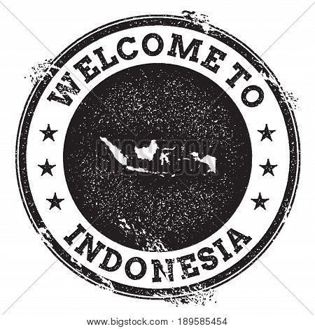 Vintage Passport Welcome Stamp With Indonesia Map. Grunge Rubber Stamp With Welcome To Indonesia Tex