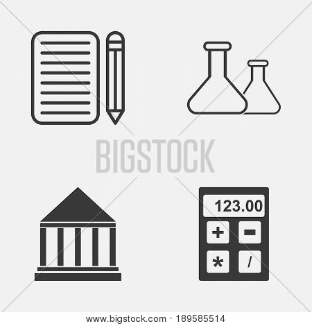 School Icons Set. Collection Of Education Center, Electronic Tool, Chemical And Other Elements. Also Includes Symbols Such As Electronic, Writing, Building.