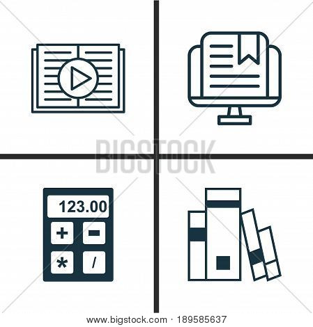 School Icons Set. Collection Of E-Study, Taped Book, Library And Other Elements. Also Includes Symbols Such As Learning, Tool, Electronic.
