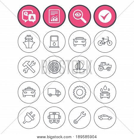 Question and answer, check tick and report signs. Transport and services icons. Ship, car and public bus, taxi. Repair hammer and wrench key, wheel and cogwheel. Sailboat and bicycle. Vector