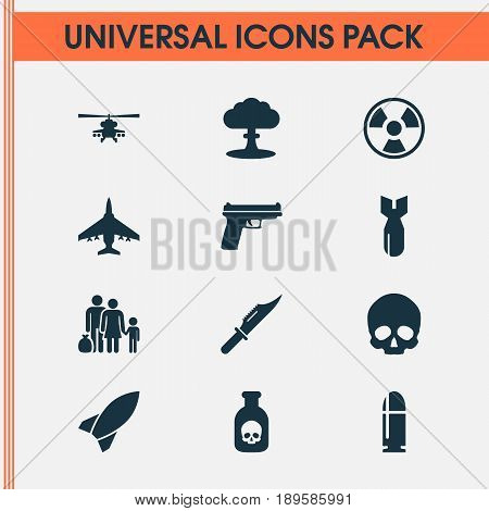 Army Icons Set. Collection Of Rocket, Cutter, Weapons And Other Elements. Also Includes Symbols Such As Fighter, Refugee, Fire.