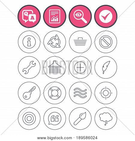 Question and answer, check tick and report signs. Universal icons. Information, shopping basket and shower. Repair tool, home key and brush. Comic speech bubble, target aim and quotes. Vector