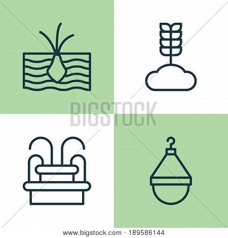 Icons Set. Collection Of Growing Plant, Cereal, Water Monument And Other Elements. Also Includes Symbols Such As Monument, Fountain, Scale.