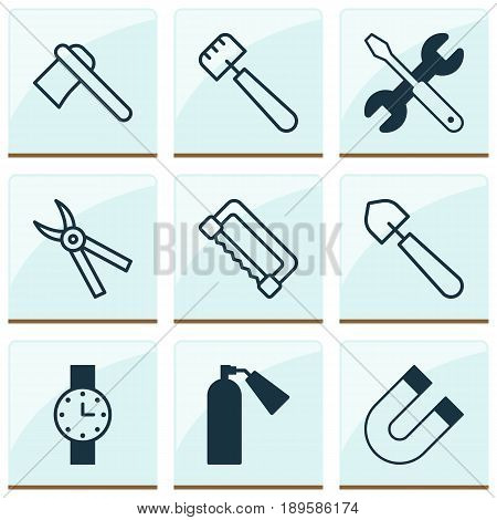 Tools Icons Set. Collection Of Attraction, Firefighter, Tomahawk And Other Elements. Also Includes Symbols Such As Firefighter, Pliers, Spud.