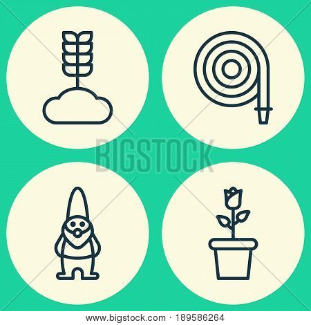 Garden Icons Set. Collection Of Dwarf, Cereal, Floret And Other Elements. Also Includes Symbols Such As Gnome, Flower, Cereal.
