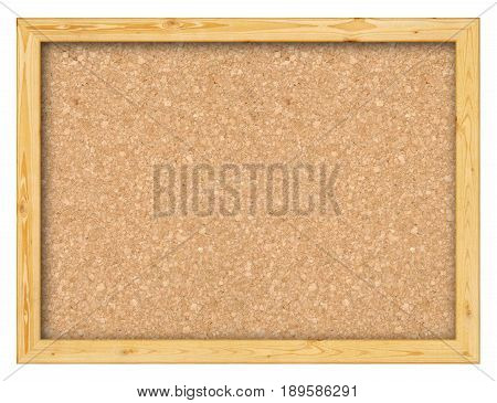The bulletin board of cork in wooden frame on white background