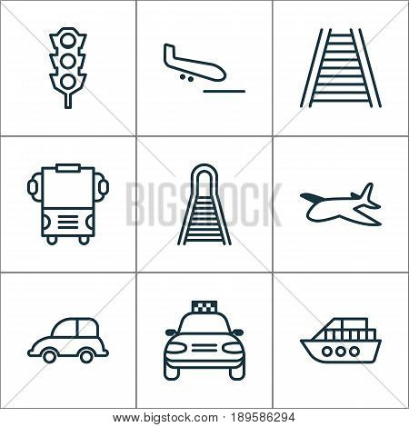 Shipping Icons Set. Collection Of Boat, Auto Car, Stoplight And Other Elements. Also Includes Symbols Such As Taxi, Traffic, Road.