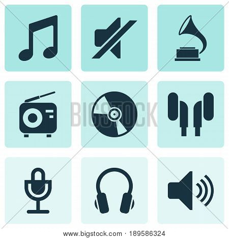 Multimedia Icons Set. Collection Of Cd, Earmuff, Mike And Other Elements. Also Includes Symbols Such As Volume, Mike, Music.