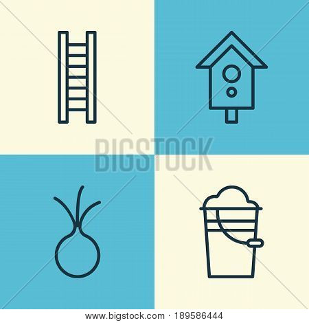 Icons Set. Collection Of Stairway, Garlic, Bucket And Other Elements. Also Includes Symbols Such As Ladder, Can, Step.