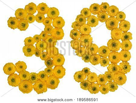 Arabic Numeral 39, Thirty Nine, From Yellow Flowers Of Buttercup, Isolated On White Background