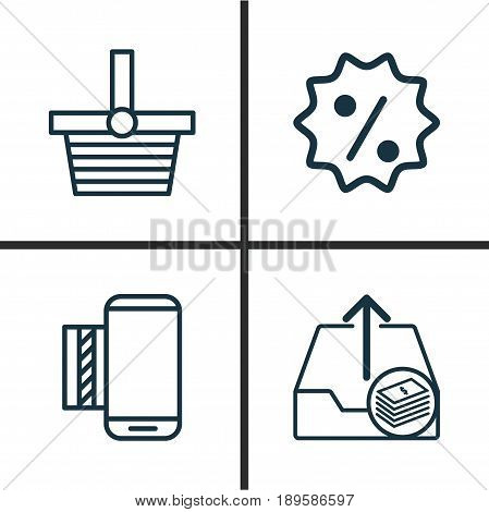 Commerce Icons Set. Collection Of Outgoing Earnings, Rebate Sign, Mobile Service And Other Elements. Also Includes Symbols Such As Upload, Box, Discount.