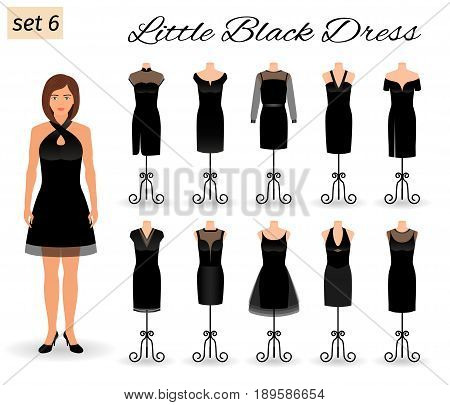 Stylish woman model character in little black dress. Set of cocktail dresses on a mannequins. Flat vector illustration.