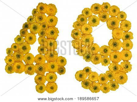 Arabic Numeral 49, Forty Nine, From Yellow Flowers Of Buttercup, Isolated On White Background