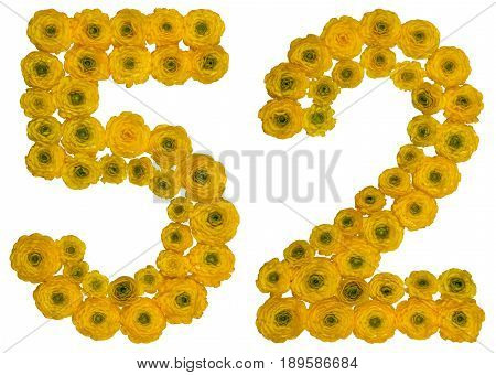 Arabic Numeral 52, Fifty Two, From Yellow Flowers Of Buttercup, Isolated On White Background