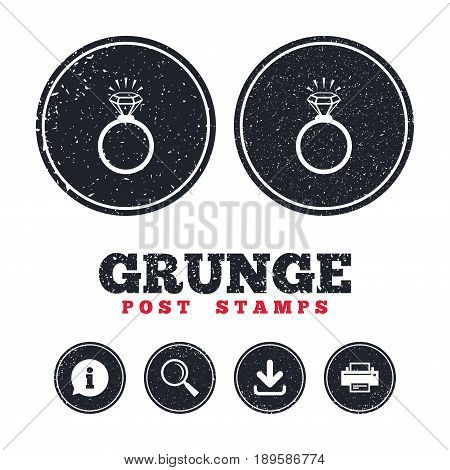 Grunge post stamps. Ring sign icon. Jewelry with shine diamond symbol. Wedding or engagement day symbol. Information, download and printer signs. Aged texture web buttons. Vector