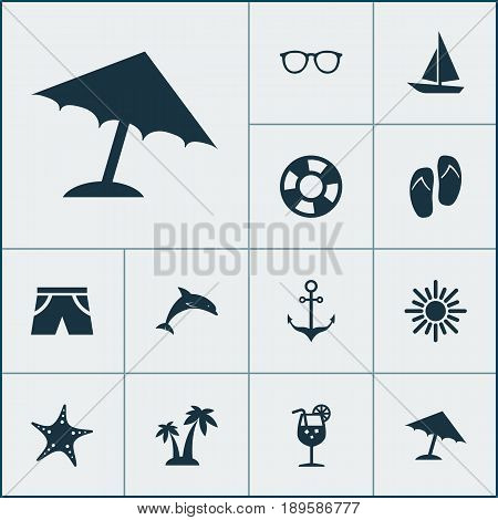Sun Icons Set. Collection Of Sunny, Armature, Beach Sandals Elements. Also Includes Symbols Such As Juice, Boat, Sandals.