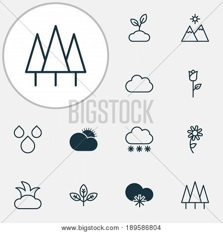 Harmony Icons Set. Collection Of Sunny Weather, Cloud, Landscape Elements. Also Includes Symbols Such As Flower, Sprout, Cloud.