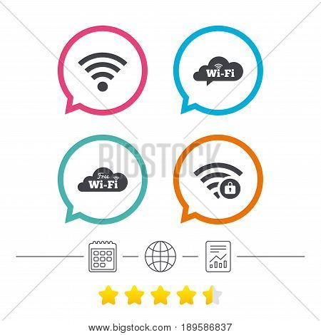 Free Wifi Wireless Network cloud speech bubble icons. Wi-fi zone locked symbols. Password protected Wi-fi sign. Calendar, internet globe and report linear icons. Star vote ranking. Vector