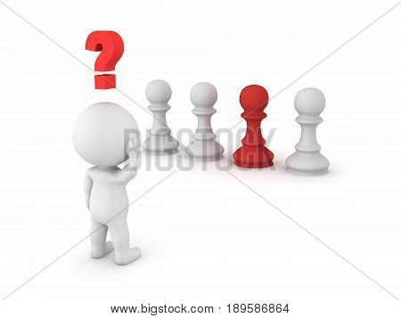 3D Character Looking At Row Of Chess Pawn, Trying To Choose One