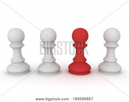 3D Illustration Of Chess Pawn Pieces With One Highlighted In Red