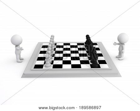3D Illustration Of A Chess Game Seen From The Side