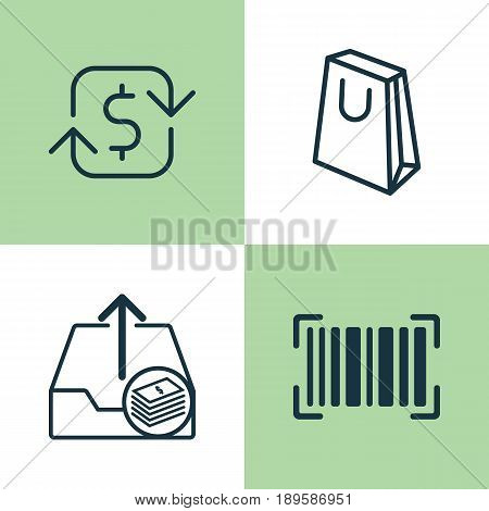 Ecommerce Icons Set. Collection Of Handbag, Identification Code, Recurring Payements Elements. Also Includes Symbols Such As Packet, Refund, Sale.