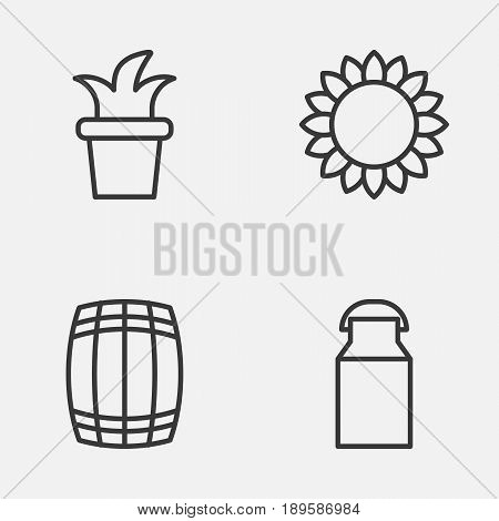 Gardening Icons Set. Collection Of Helianthus, Bush Pot, Cask And Other Elements. Also Includes Symbols Such As Plant, Sunflower, Cask.
