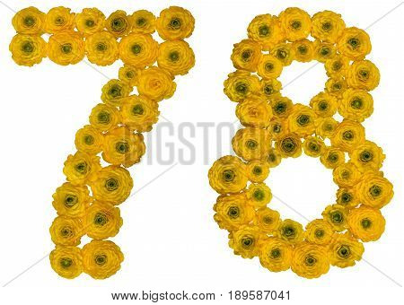 Arabic Numeral 78, Seventy Eight, From Yellow Flowers Of Buttercup, Isolated On White Background