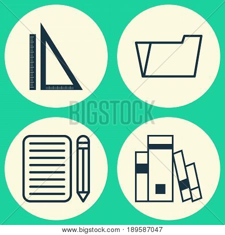 School Icons Set. Collection Of Home Work, Library, Document Case And Other Elements. Also Includes Symbols Such As Drawing, Library, Book.