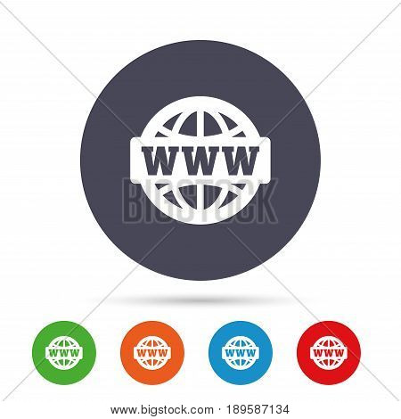WWW sign icon. World wide web symbol. Globe. Round colourful buttons with flat icons. Vector