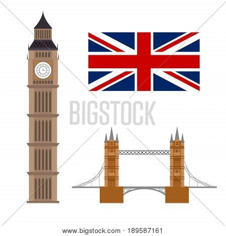 Big ben with flag and bridge famous. London concept isolated